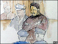 Artist's impression of Shoko Asahara's court appearance