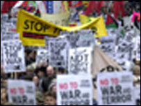 Thousands of protesters gathered in London on 18 November 2001, to demand an end to the war in Afghanistan