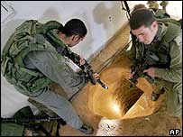 Israeli soldiers inspect arms smuggling tunnel in house in Rafah