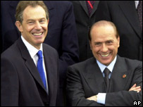 Tony Blair y Silvio Berlusconi