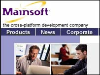 Screengrab of Mainsoft homepage, Mainsoft