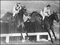 Arkle (right) leads Mill House in the 1965 Cheltenham Gold Cup