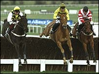 Viking Flagship (right) wins a thrilling Champion Chase in 1994