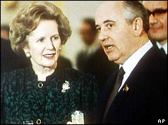 British Prime Minister Margaret Thatcher with Mr Gorbachev