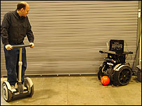 A researcher on a Segway preparing to face the robotic Segway (Image: Coral Lab, Carnegie Mellon University)