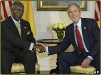 Ghana's John Kufuor with President Bush