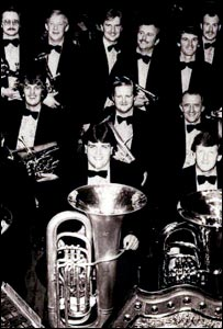 Andrew Lincoln (front, with tuba) and the rest of Grimethorpe Colliery Band after winning the national championships 