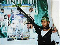 Palestinian fighter posing before suicide mission
