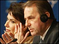 IOC president Jacques Rogge and Athens 2004 president Gianna Angelopoulos-Daskalaki
