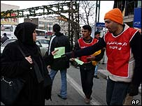 Leafleting in Tehran
