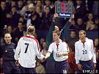 David Beckham is substituted during an England game