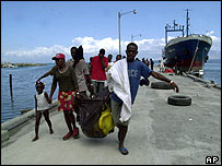 Haitians arrive at the port of Carrefour, after being intercepted and sent back by the Us Coast Guard 