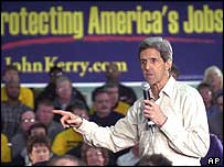 John Kerry talking to a trade union in Ohio
