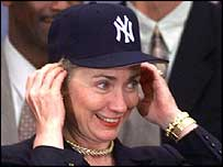 Hillary Clinton sports a Yankees cap