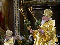 The Patriarch of Moscow during an Orthodox Christmas service in January