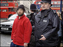 Alleged beggar being arrested in London
