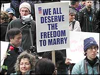 Protesters in favour of same-sex marriage