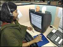 An employee in a call centre in Bangalore, India