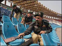 Police check at the Gaddafi stadium in Lahore