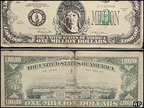 A fake $1m bill