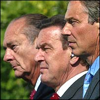 Jacques Chirac, Gerhard Schroeder, Tony Blair