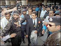 Indian batsman Sachin Tendulkar arrives with the Indian team in Lahore