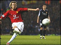David Beckham scores for Manchester United in last year's Champions League quarter-final
