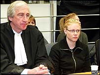 Laetitia Delhez (right) with her counsel