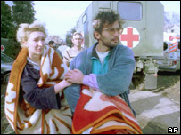 Vukovar refugees helped to safety by Red Cross after the fighting