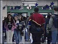 Students walk the halls of the school