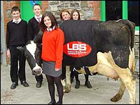 Daniel Beynon, Rhys Williams, Lauren Williams, Laura Buffee, Rachael Davies and Dainty the cow