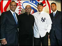 Joe Torre, Reggie Jackson, Alex Rodriguez and Derek Jeter.