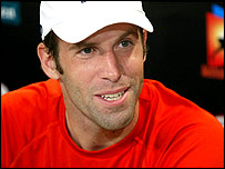 Greg Rusedski talks to the media