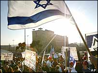 Jewish settlers protest in Jerusalem against a withdrawal from the Gaza Strip