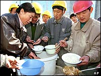 Migrant workers at a building site in Beijing