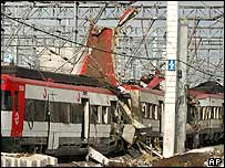 Wreckage of train at Atocha railway station