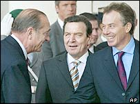 Jacques Chirac (left), Gerhard Schroeder (centre) and Tony Blair