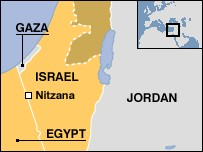 map of Israel's border with Egypt
