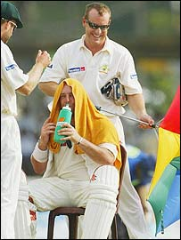 Lehmann under a towel