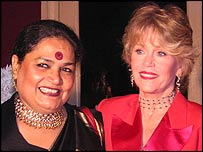 Singer Usha Uthup with Jane Fonda