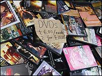 Pile of counterfeit DVDs