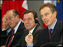Jacques Chirac (left), Gerhard Schroeder (centre)  and Tony Blair (right)