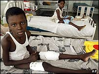 Child in hospital in Port-au-Prince