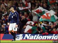 Paul Ritchie trudges off the pitch in Cardiff