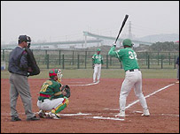 Baseball match between a Chinese and Taiwanese team