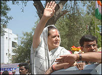 Sonia Gandhi campaigning