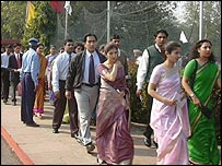 Queue of people hoping to join Air India