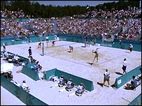 Action from the beach volleyball at Atlanta