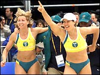 Australia's Kerri Pottharst and Natalie Cook celebrate victory in 2000