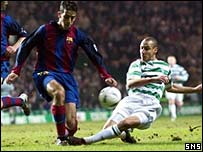 Presas Oleguer challenges Henrik Larsson